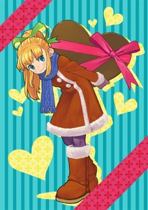 Rating: Safe Score: 0 Tags: 1girl blonde_hair blue-eyes blue_eyes boots capcom chocolate coat fur_trim heart kin_niku pantyhose panythose ponytail ribbon rockman rockman_(classic) roll scarf solo User: DMSchmidt
