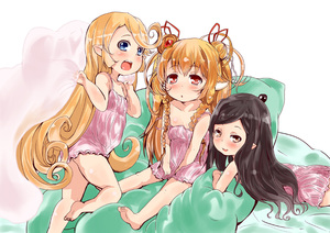 Rating: Safe Score: 3 Tags: 3girls animal_ears arms_up arulumaya barefoot bed_sheet black_hair blonde_hair blue_eyes blush braid brown_eyes brown_hair camisole charlotta_fenia collarbone double_bun flat_chest granblue_fantasy hair_bun hair_ornament highres holding jewellery kneeling legs long_hair lying mahira_(granblue_fantasy) multiple_girls no_pants on_stomach open_mouth pointy_ears shi_ecchi sitting smile strap_slip toes twin_braids User: Domestic_Importer