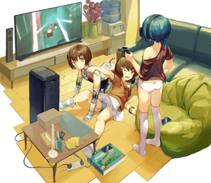 Rating: Safe Score: 3 Tags: 1other 2girls absurdres all_fours android ass beat_saber black_hair black_shirt blue_panties brown_eyes brown_hair brown_shirt cellphone couch electric_plug electric_socket full_body head_mounted_display highres indoors multiple_girls no_pants off_shoulder one_eye_closed open_mouth original pantsu phone ponytail robot_joints shadow shirt short_hair short_sleeves skirt skirt_lift smartphone socks source_request table television thighhighs tissue tissue_box underwear water_cooler white_footwear white_legwear white_pantsu white_skirt zhongye_yu User: DMSchmidt