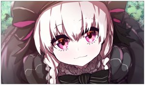 Rating: Safe Score: 4 Tags: 1girl absurdres bangs beret black_bow black_dress black_hat blush bow closed_mouth dress eyebrows_visible_through_hair fate/extra fate_(series) gothic_lolita hair_between_eyes hat hat_bow highres lolita_fashion long_hair looking_at_viewer low_twintails nursery_rhyme_(fate/extra) pink_eyes protected_link silver_hair smile solo striped striped_bow twin_tails wada_kazu User: DMSchmidt