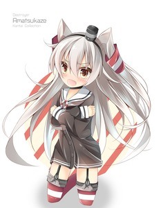 Rating: Safe Score: 0 Tags: 1girl amatsukaze_(kantai_collection) bangs black_choker brown_dress brown_eyes character_name choker copyright_name diagonal_stripes dress eyebrows_visible_through_hair full_body garter_straps hair_between_eyes hair_tubes hat head_tilt highres kantai_collection kneeling kushida_you lifebuoy long_hair long_sleeves looking_at_viewer mini_hat open_mouth red_legwear sailor_collar sailor_dress short_dress silver_hair simple_background single_stripe smokestack solo tears thighhighs two_side_up v-shaped_eyebrows very_long_hair white_background white_sailor_collar windsock User: Domestic_Importer