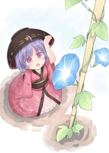 Rating: Safe Score: 0 Tags: 1girl :o absurdres ahoge arm_up bangs blush bowl bowl_hat eyebrows_visible_through_hair flower hand_on_headwear hat highres japanese_clothes kibisake kimono leaf_print long_sleeves looking_up morning_glory obi open_mouth print_kimono purple_hair red_eyes red_kimono sash short_hair solo sukuna_shinmyoumaru touhou_project wide_sleeves User: Domestic_Importer