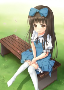 Rating: Safe Score: 0 Tags: 1girl bench blush bow brown_eyes brown_hair dress grass hair_bow looking_at_viewer looking_up ouka_(ra-raradan) outdoors over-kneehighs sitting smile solo star_sapphire thighhighs touhou_project User: DMSchmidt