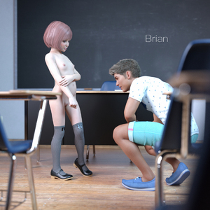 Rating: Questionable Score: 10 Tags: 1boy 1girl 3dcg age_difference breasts classroom desk highres knee_socks mary_janes photorealistic pink_hair pussy school_desk school_uniform shoes short_hair shorts small_breasts User: yobsolo
