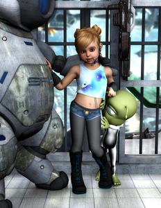 Rating: Safe Score: 0 Tags: 1girl 3dcg alien bell bell_collar black_boots boots brown_eyes brown_hair butterfly collar hands_on_own_chest highres jewellery leggings lip_piercing microphone midriff navel nose_piercing ring robot shorts starkid tank_top User: mythified