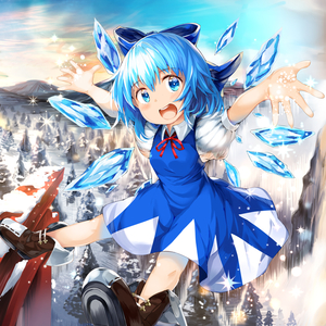 Rating: Safe Score: 0 Tags: 1girl :d arms_up bangs blue_dress blue_eyes blue_hair blue_sky boots bow breasts brown_footwear cirno day dress flying foreshortening forest gradient_sky hair_between_eyes hair_bow looking_at_viewer mountainous_horizon nature neck_ribbon open_hands open_mouth outdoors outstretched_arm pinafore_dress pine_tree puffy_short_sleeves puffy_sleeves red_neckwear ribbon shirt short_hair short_sleeves sky small_breasts smile snow solo sparkle spread_arms spread_legs torii touhou_project tree umagenzin upper_teeth white_shirt wings User: DMSchmidt