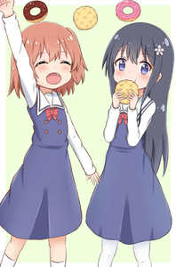 Rating: Safe Score: 0 Tags: 2girls :d :t ^_^ arm_up bangs black_hair blue_dress blush bow bread brown_hair closed_eyes closed_mouth doughnut dress eating eyebrows_visible_through_hair fang flower food green_background hair_between_eyes hair_flower hair_ornament holding holding_food jiu_(sdesd3205) kneehighs long_hair long_sleeves melon_bread multiple_girls one_side_up open_mouth pantyhose pink_flower purple_eyes red_bow school_uniform shirosaki_hana shirt sleeveless sleeveless_dress smile two-tone_background very_long_hair watashi_ni_tenshi_ga_maiorita! white_background white_legwear white_shirt User: Domestic_Importer