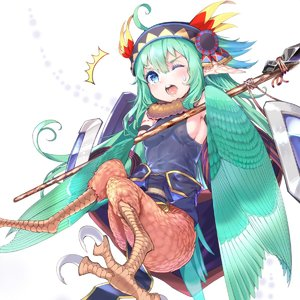 Rating: Safe Score: 0 Tags: /\/\/\ 1girl absurdres ahoge animal_ears bare_shoulders blue_eyes breasts claws covered_nipples green_hair hair_between_eyes harpy highres holding kawasumi_(tk2k_jade) long_hair looking_at_viewer monster_girl one_eye_closed open_mouth original pointy_ears sash shield sideboob small_breasts solo staff sweatdrop wings User: DMSchmidt