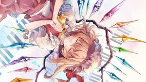 Rating: Safe Score: 0 Tags: 1girl album_cover ascot blonde_hair closed_eyes closed_mouth cover crystal eyebrows_visible_through_hair facing_viewer flandre_scarlet frilled_shirt_collar frills hands_clasped hat hat_ribbon highres hirai_yuzuki interlocked_fingers mob_cap musical_note own_hands_together piano_keys puffy_short_sleeves puffy_sleeves red_ribbon red_skirt red_vest ribbon shirt short_hair short_sleeves skirt skirt_set smile solo sparkle touhou_project upper_body upside-down vest white_shirt wings yellow_neckwear User: DMSchmidt