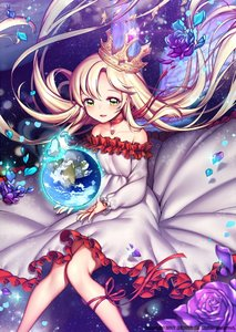 Rating: Safe Score: 0 Tags: 1girl artist_name bare_shoulders blush choker crown earth flower globe looking_at_viewer original parted_lips petals purple_rose red_ribbon rewolf ribbon rose smile solo yellow_eyes User: DMSchmidt