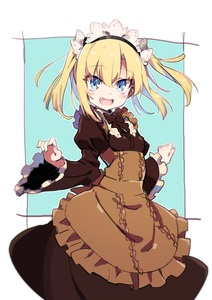 Rating: Safe Score: 1 Tags: 1girl :d absurdres apron bangs black_hairband blonde_hair blue_background blue_eyes blush breasts brown_apron brown_dress center_frills copyright_request dress eyebrows_visible_through_hair fang fingernails frills hair_between_eyes hairband headdress highres juliet_sleeves long_sleeves maid_headdress open_mouth puffy_sleeves sidelocks small_breasts smile solo tama_(tama-s) twin_tails two-tone_background underbust virtual_youtuber white_background wide_sleeves User: DMSchmidt