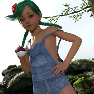 Rating: Safe Score: 10 Tags: 1girl 3dcg braid flat_chest green_hair long_hair looking_at_viewer mao_(pokemon) naked_overalls outdoors photorealistic poke_ball pokemon pokemon_sm pose prea solo standing trial_captain twin_braids User: fantasy-lover