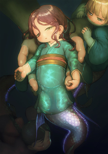 Rating: Safe Score: 1 Tags: 3girls blush braid brown_hair feral_lemma green_eyes highres japanese_clothes kimono long_sleeves looking_at_another looking_at_viewer mermaid monster_girl multiple_girls original partially_submerged short_hair single_braid swimming water User: DMSchmidt