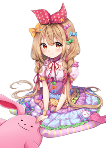 Rating: Safe Score: 0 Tags: 1girl blonde_hair blue_bow blush bow brown_eyes candy dress food frilled_dress frills futaba_anzu green_bow hair_bow heart idolmaster idolmaster_cinderella_girls jewellery macaron nazuna_shizuku neck_ribbon necklace orange_bow pink_footwear pleated_skirt polka_dot polka_dot_bow puffy_short_sleeves puffy_sleeves red_bow red_ribbon ribbon seiza short_sleeves sitting skirt smile striped striped_legwear stuffed_animal stuffed_bunny stuffed_toy twin_tails wariza User: Domestic_Importer
