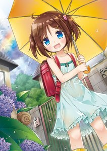 Rating: Safe Score: 4 Tags: 1girl backpack bag blue_eyes boots brown_hair building cloud dress flower gate green_dress hair_ornament hairclip house hydrangea open_mouth original outdoors plant rain rainbow randoseru rubber_boots scrunchie see-through short_hair sky smile snail solo sundress two_side_up umbrella wall wet wet_clothes wet_dress yellow_footwear yukino_minato User: DMSchmidt