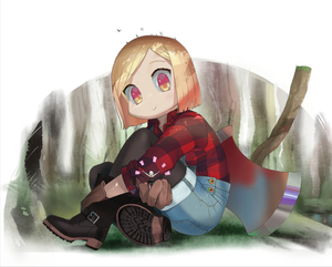 Rating: Safe Score: 1 Tags: (stag) 10s 2girls axe bird black_legwear blonde_hair boots brown_boots dress_shirt eyebrows_visible_through_hair fate/grand_order fate_(series) flannel forest full_body giantess highres holding jack_the_ripper_(fate/apocrypha) leg_hug looking_at_another multiple_girls nature outdoors outstretched_arm overalls pantyhose paul_bunyan_(fate/grand_order) plaid plaid_shirt shirt short_hair sitting smile solo_focus weapon yellow_eyes User: Domestic_Importer