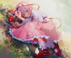 Rating: Safe Score: 0 Tags: 1girl blood blood_on_face bobby_socks cherry_blossoms frilled_skirt frilled_sleeves frills grass highres holding holding_head holding_knife isshin_(kaxz) knife komeiji_satori long_sleeves lying mary_janes pink_eyes pink_hair shoes skirt socks solo third_eye touhou_project User: DMSchmidt