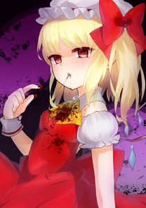 Rating: Safe Score: 1 Tags: 1girl ascot blonde_hair blood blood_in_mouth bloody_clothes crystal dress eating flandre_scarlet garters hat hat_ribbon highres open_mouth puffy_sleeves red_eyes ribbon short_hair side_ponytail solo tamaki_(more-bear) touhou_project wings User: DMSchmidt