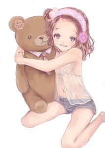 Rating: Safe Score: 2 Tags: 1girl artist_request brown_hair denim denim_shorts detached_sleeves friends happy headband hug kneeling looking_at_viewer navel open_mouth purple_eyes shirt short_shorts shorts simple_background sleeveless smile stuffed_animal stuffed_toy teddy_bear transparent_clothes white_background User: Domestic_Importer