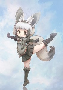 Rating: Safe Score: 3 Tags: 1girl :3 animal_ears balancing bat-eared_fox_(kemono_friends) black_hair bow bowtie elbow_gloves eyebrows_visible_through_hair fox_ears fox_tail full_body fur_trim gloves green_eyes grey_hair highres jacket kemono_friends kolshica loafers multicoloured_hair open_mouth pleated_skirt shoes short_hair short_sleeves skirt socks solo standing standing_on_one_leg tail User: Domestic_Importer