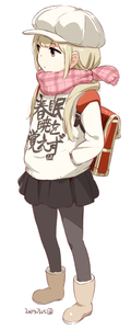 Rating: Safe Score: 0 Tags: 1girl adapted_costume alternate_costume backpack bag bangs black_legwear black_skirt blonde_hair boots brown_eyes brown_footwear cabbie_hat casual closed_mouth clothes_writing dated expressionless eyebrows_visible_through_hair full_body futaba_anzu hands_in_pockets hat idolmaster idolmaster_cinderella_girls long_hair looking_away looking_to_the_side low_twintails miniskirt nagian pantyhose pink_scarf plaid plaid_scarf pleated_skirt randoseru red_backpack scarf simple_background skirt solo standing sweater twin_tails white_background white_hat white_sweater User: Domestic_Importer