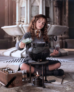 Rating: Safe Score: 20 Tags: 1girl alex_(artist) artist_name bottle brown_eyes brown_hair fire harry_potter hermione_granger highres long_hair pantsu photorealistic pot school_uniform shoes socks solo underwear User: editfag