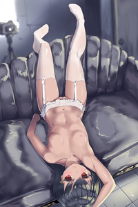 Rating: Questionable Score: 1 Tags: 1girl artist_request black_hair breasts camera closed_mouth collarbone copyright_request couch garter_belt highres legs_up legwear lingerie long_hair looking_at_viewer lying navel nipples nopan on_back original shiny shiny_skin small_breasts solo thighhighs underwear upside-down white_legwear zenix User: Domestic_Importer