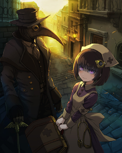 Rating: Safe Score: 2 Tags: 1boy 1girl alley armband ascot backlighting bag beak cane city clothes_pin dark fingerless_gloves gloves hair_ornament hat highres lantern looking_at_viewer mask nurse nurse_cap original outdoors plague_doctor purple_eyes red_cross stairs steampunk stethoscope sunlight top_hat trench_coat ume_(illegal_bible) vest User: DMSchmidt