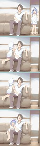 Rating: Safe Score: 2 Tags: 1boy 1girl 4koma aoi_tori barefoot brown_pants cheek_poking hood hooded_dress indoors leaning_on_person open_mouth pants sitting_on_couch sleeping sleeveless_hoodie white_hoodie white_shirt User: TrashBard