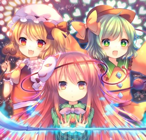 Rating: Safe Score: 0 Tags: 3girls :d ascot blonde_hair blush bow closed_mouth danmaku english expressionless face_mask fang flandre_scarlet fox_mask frilled_shirt_collar frills glowing green_eyes green_hair hat hat_ribbon hata_no_kokoro heart heart_background holding komeiji_koishi laevatein long_hair long_sleeves looking_at_viewer mask mask_on_head mob_cap multiple_girls naginata open_mouth outstretched_arm pink_eyes pink_hair pjrmhm_coa plaid plaid_shirt polearm red_bow red_eyes ribbon shirt short_hair short_sleeves side_ponytail skirt smile third_eye touhou_project very_long_hair weapon wide_sleeves wrist_cuffs yellow_bow User: DMSchmidt