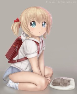 Rating: Safe Score: 5 Tags: 1girl backpack bag blonde_hair blue_eyes blush cat copyright_request flat_chest highres hood hoodie kitten mole mole_under_eye novcel open_mouth randoseru skirt skirt_lift socks thighs twin_tails User: Domestic_Importer