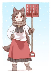 Rating: Safe Score: 0 Tags: 1girl animal_ears bangs black_neckwear black_skirt blouse blush_stickers boots brown_eyes brown_footwear brown_gloves brown_hair brown_scarf closed_mouth eyebrows_visible_through_hair full_body gem gloves hand_on_hip highres holding imaizumi_kagerou long_hair long_sleeves pleated_skirt poronegi red_skirt shovel skirt smile snowing solo standing tail touhou_project white_blouse wolf_ears wolf_tail worktool younger User: DMSchmidt