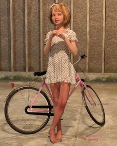 Rating: Safe Score: 8 Tags: 1girl 3d_custom_girl 3dcg artist_name barefoot bicycle blonde_hair bow dress feet flat_chest freckles grey_eyes hair_bow hair_ornament hairband highres outdoors photorealistic polka_dot pose short_hair smile solo standing sundress timnaas User: Software