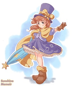Rating: Safe Score: 0 Tags: 1girl a_hat_in_time blue_eyes blush brown_hair dress gloves hat hat_kid khiuly long_hair looking_at_viewer ponytail solo top_hat umbrella User: DMSchmidt