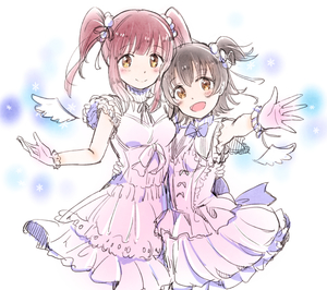 Rating: Safe Score: 0 Tags: 10s 2girls akagi_miria arm_around_waist bangs black_hair brown_eyes closed_mouth eyebrows_visible_through_hair gloves idolmaster idolmaster_cinderella_girls looking_at_viewer mult multiple_girls ogata_chieri open_mouth pink_gloves purple_hair short_twin_tails smile tanaka_(colorcorn) tareme twin_tails wings User: Domestic_Importer