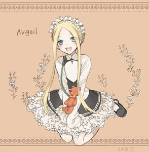 Rating: Safe Score: 0 Tags: 1girl abigail_williams_(fate/grand_order) apron artist_request bangs black_skirt blonde_hair blue_eyes bow butterfly_hair_ornament fate/grand_order fate_(series) flower hair_ornament headdress heroic_spirit_chaldea_park_outfit long_hair looking_at_viewer maid maid_apron maid_headdress mary_janes open_mouth orange_bow parted_bangs shoes skirt sleeves_past_fingers sleeves_past_wrists stuffed_animal stuffed_toy teddy_bear white_bow User: DMSchmidt