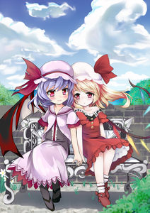 Rating: Safe Score: 0 Tags: 2girls ankle_socks bare_shoulders bat_wings bench blonde_hair blouse blue_sky blush brick_wall buttons cloud collarbone dress flandre_scarlet flower grass hat hat_ribbon head_to_head highres holding_hands lavender_hair light_smile looking_at_viewer mob_cap multiple_girls natsuya pantyhose petticoat red_dress red_eyes remilia_scarlet ribbon short_hair short_sleeves siblings side_ponytail sisters sitting skirt sky touhou_project tree vest wings User: DMSchmidt