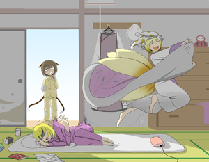 Rating: Safe Score: 1 Tags: 3girls alarm_clock barefoot blanket blonde_hair brown_hair brushing_teeth can chen chest_of_drawers clock cold cup electric_socket futon hat hat_removed headwear_removed magazine multiple_girls multiple_tails okahi open_mouth pajamas sleeping tail touhou_project yakumo_ran yakumo_yukari User: DMSchmidt