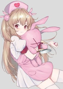 Rating: Safe Score: 0 Tags: 1girl blush brown_hair closed_mouth eyebrows_visible_through_hair fang grey_background hat heart highres holding holding_knife holding_stuffed_animal knife long_hair looking_at_viewer natori_sana nurse_cap pink_eyes pink_nails puffy_short_sleeves puffy_sleeves rippootai sana_channel short_sleeves simple_background smile solo stuffed_animal stuffed_toy thighhighs very_long_hair white_legwear User: DMSchmidt