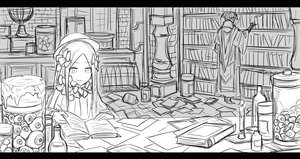 Rating: Safe Score: 0 Tags: 2girls abigail_williams_(fate/grand_order) bangs bloodborne book bookshelf bow brick_wall candle crossover eyeballs fate/grand_order fate_(series) globe greyscale hair_bow hat indoors jar kan_(aaaaari35) long_hair long_sleeves messy monochrome multiple_girls parted_bangs reading searching yurie_the_last_scholar User: DMSchmidt