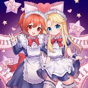 Rating: Safe Score: 0 Tags: 2girls :3 :d absurdres alternate_costume apron back_bow bangs blonde_hair blue_dress blue_eyes blue_shirt blue_skirt bow bowtie cowboy_shot dress enmaided frilled frilled_apron frilled_bow frilled_cuffs frilled_hairband frilled_legwear frills hair_up hairband headdress heart highres himesaka_noa hoshino_hinata jinker384057268 juliet_sleeves long_hair long_skirt long_sleeves maid maid_headdress multiple_girls one_side_up open_mouth orange_hair puffy_short_sleeves puffy_sleeves red_bow red_eyes ribbon shirt short_hair short_sleeves skindentation skirt skirt_lift smile sparkle sparkling_eyes standing star thick_eyebrows thighhighs v v-shaped_eyebrows watashi_ni_tenshi_ga_maiorita! white_apron white_legwear wrist_cuffs zettai_ryouiki User: Domestic_Importer