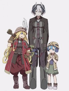 Rating: Safe Score: 2 Tags: 1boy 2girls bangs black_cape black_eyes black_hair blonde_hair blue_eyes blue_hair blunt_bangs blush boots brown_gloves cape closed_eyes closed_mouth coat gloves grey_background grin hand_on_hip height_difference helmet highres holding jacket jitome long_hair long_sleeves looking_at_another lyza made_in_abyss maruruk mi_(pic52pic) multicoloured_hair multiple_girls otoko_no_ko over_shoulder ozen pants parted_lips pigeon-toed puffy_pants shorts simple_background smile standing two-tone_hair weapon weapon_over_shoulder whistle white_hair User: Domestic_Importer