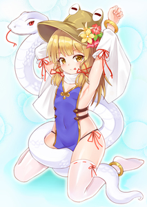 Rating: Safe Score: 1 Tags: 1girl :p absurdres anklet arm_ribbon armpits arms_up bangs bare_shoulders black_panties blonde_hair blue_background blush brown_headwear bushi_(1622035441) covered_navel detached_sleeves eyebrows_visible_through_hair flat_chest flower forked_tongue hair_ribbon hat hat_flower highres jewellery long_hair long_sleeves looking_at_viewer moriya_suwako naked_tabard no_shoes pantsu red_flower red_ribbon ribbon ribbon-trimmed_legwear ribbon_trim sitting smile snake solo tabard thighhighs thighs tongue tongue_out touhou_project underwear wariza white_legwear white_snake yellow_eyes yellow_flower User: DMSchmidt