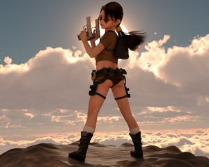 Rating: Questionable Score: 8 Tags: 1girl 3dcg ass belt boots brown_hair flat_chest lara_croft long_hair looking_at_viewer looking_back milana_k nevyn outdoors photorealistic pistol ponytail pose standing sunglasses User: fantasy-lover