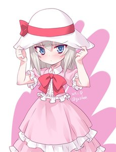 Rating: Safe Score: 1 Tags: 1girl adjusting_headwear bangs blue_eyes blush bow bowtie closed_mouth collared_dress dated dress eyebrows_visible_through_hair frilled_dress frills frown girls_und_panzer hat hat_bow hat_ribbon hat_tug highres itsumi_erika kuzuryuu_kennosuke layered_dress long_dress long_hair looking_at_viewer pink_dress red_bow red_neckwear ribbon short_sleeves silver_hair solo standing sun_hat twitter_username white_background white_hat younger User: DMSchmidt