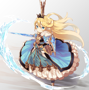 Rating: Safe Score: 1 Tags: 1girl :> blonde_hair blue_dress blue_eyes blush breastplate charlotta_fenia crown dress frilled_skirt frills from_above furrowed_eyebrows gauntlets gradient gradient_background granblue_fantasy greaves grey_background hair_between_eyes hair_blowing highres layered_dress long_hair looking_at_viewer nuqura outstretched_arm pointy_ears shield skirt smile solo standing sword very_long_hair water weapon wind User: DMSchmidt