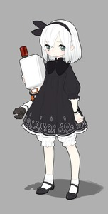 Rating: Safe Score: 0 Tags: 1girl absurdres adapted_costume arm_at_side black_bow black_dress black_hairband black_ribbon black_shoes bloomers blush blush_stickers bow closed_mouth dress drone eyebrows eyebrows_visible_through_hair fugu_buta full_body grey_background hair_between_eyes hair_ribbon hairband highres hug legs_apart long_sleeves looking_at_viewer machinery mary_janes mole mole_under_mouth nier_(series) nier_automata no_blindfold object_hug pod_(nier_automata) print_dress ribbon robot shoes short_dress short_hair simple_background sleeves_past_wrists socks solo standing underwear white_hair white_legwear wrist_bow wrist_straps yorha_no._2_type_b younger User: Domestic_Importer