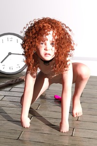 Rating: Explicit Score: 34 Tags: 1girl 3dcg barefoot bdsm blue_eyes bondage bound brown_hair clitoris clock collar dildo flagen flat_chest highres long_hair nail_polish nipples nude paddle photorealistic pussy red_hair self_upload sex_toy shadow slave solo squatting tears User: Flagen