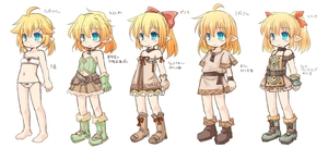 Rating: Safe Score: 0 Tags: 1girl ahoge bare_shoulders blonde_hair blue_eyes boots bow chibi choker dress elf full_body gloves hair_bow hair_ribbon highres kso long_hair looking_at_viewer low_twintails multiple_views navel original partially_translated pointy_ears pouch ribbon sash simple_background sketch skirt sleeveless smile translation_request tunic twin_tails underwear underwear_only variations white_background User: Domestic_Importer