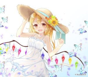 Rating: Safe Score: 1 Tags: 1girl :d alternate_costume alternate_headwear artist_name bare_arms bare_shoulders blonde_hair blue_background blue_ribbon blush bug butterfly collarbone cowboy_shot crystal dress flandre_scarlet flower gradient gradient_background hair_between_eyes hand_on_headwear hands_up haruki_(colorful_macaron) hat hat_flower hat_ribbon highres insect long_hair looking_at_viewer open_mouth orange_flower red_eyes ribbon side_ponytail smile solo spaghetti_strap standing sun_hat sundress touhou_project twitter_username white_background white_dress wings yellow_flower User: DMSchmidt